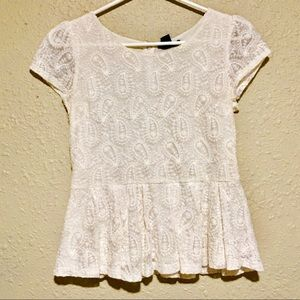 Forever 21 paisley lace peplum blouse